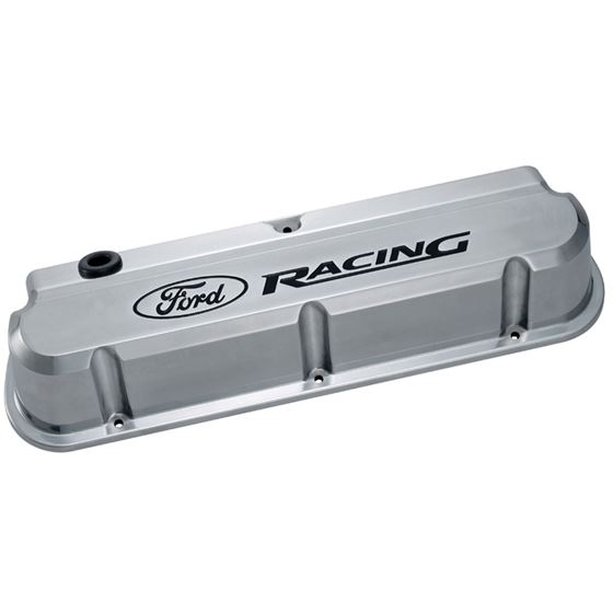Ford Racing 302-138 Engine Valve Covers Tall Alum Polished with Logo Ford SB Recessed Black Logo