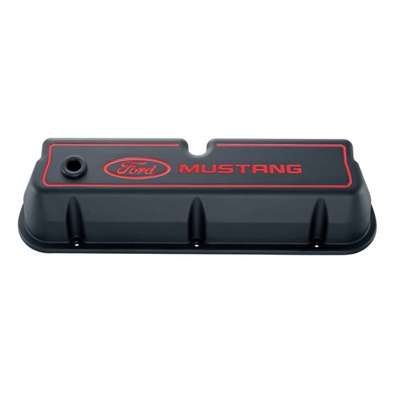 Ford Racing 302-031 Engine Valve Covers Tall Alum Black Crinkle with Mustang Logo Ford SB Recessed R