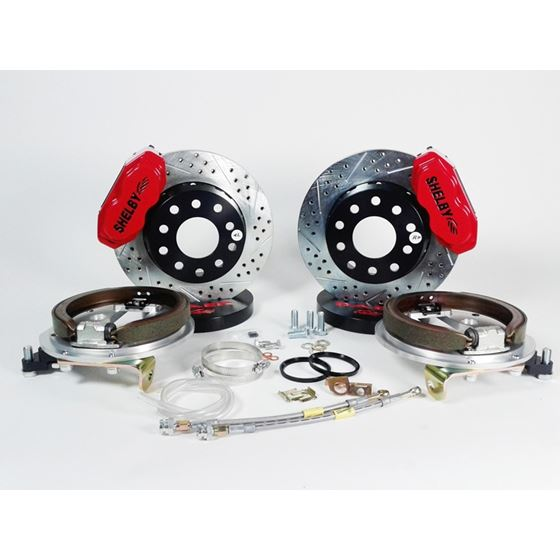 Baer Brake Systems 4262649R Brake System 13 Inch Rear SS4+ w/Park Brake Shelby Logo Red Ford 9 Inch