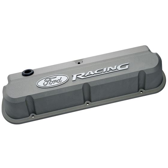 Ford Racing 302-137 Valve Covers Slant Edge Tall Die Cast Gray w/Recessed Ford Logo SB Ford Raised L