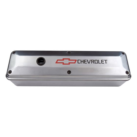 Chevrolet Performance Parts 141-910 Engine Valve Cover 2 Piece Tall Style Die Cast Polish w/Bowtie L