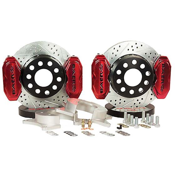 Baer Brake Systems 4262266FR Brake System 11 Inch Rear SS4+ Deep Stage 4-Caliper Fire Red Ford 9 Inc