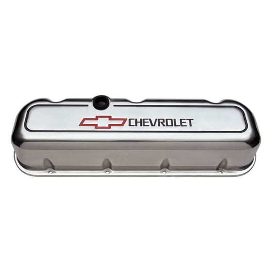 Chevrolet Performance Parts 141-142 Engine Valve Covers Tall Style Die Cast Polished with Bowtie Log