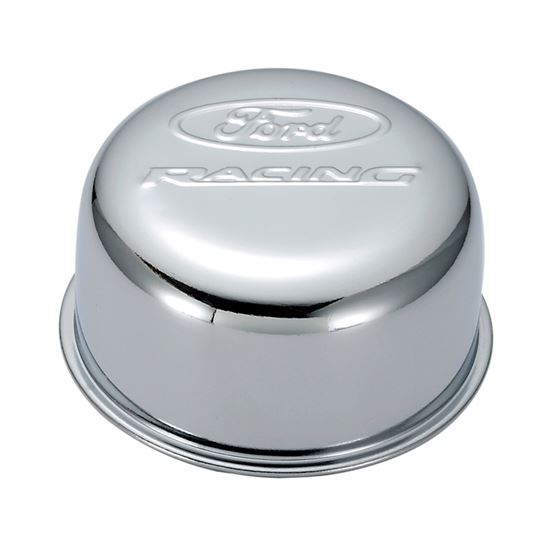 Ford Racing 302-200 Valve Cover Breather Cap Chrome Twist-On Type 3in. Diameter With Ford Logo
