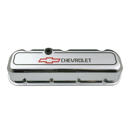 Chevrolet Performance Parts 141-140 Engine Valve Covers Tall Style Die Cast Chrome with Bowtie Logo