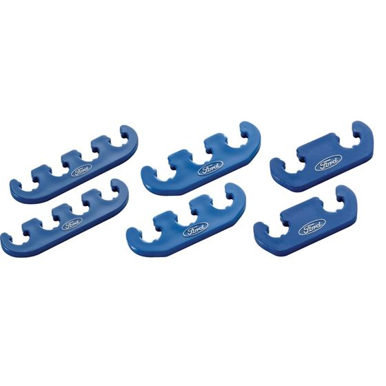 Ford Racing 302-637 Spark Plug Wire Dividers Universal 2-3-4 Wire w/ Ford Oval Logo Blue