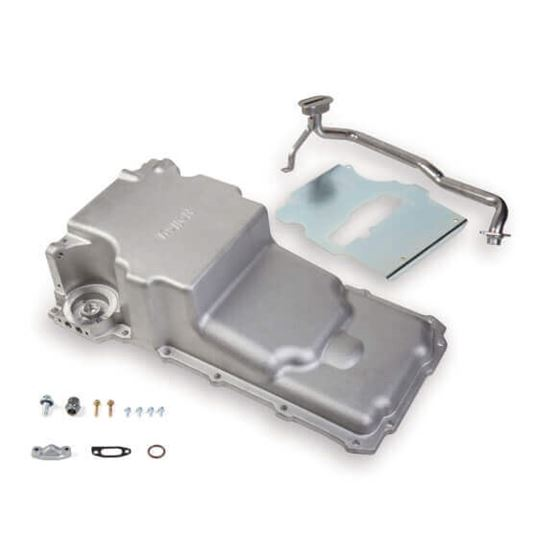 Holley 302-2 Retro-Fit LS Aluminum Rear Sump Oil Pan, Aluminum, Natural