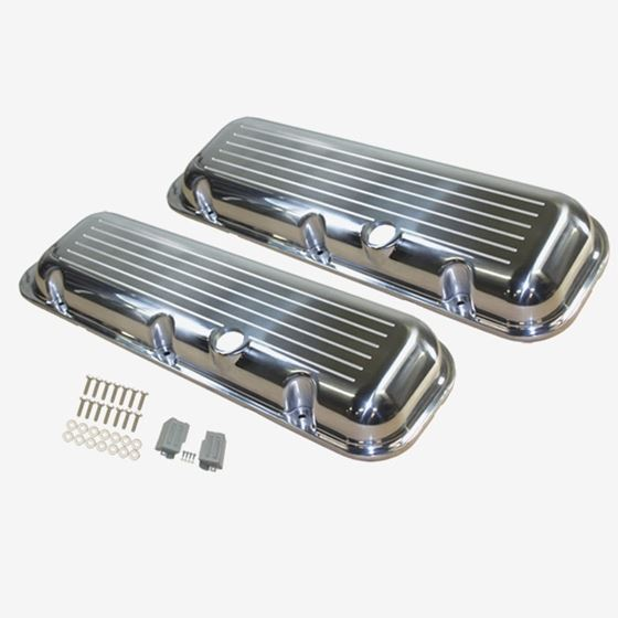 TSP SP8534 Chevy Big Block Short Ball Milled Polished Aluminum Valve Covers
