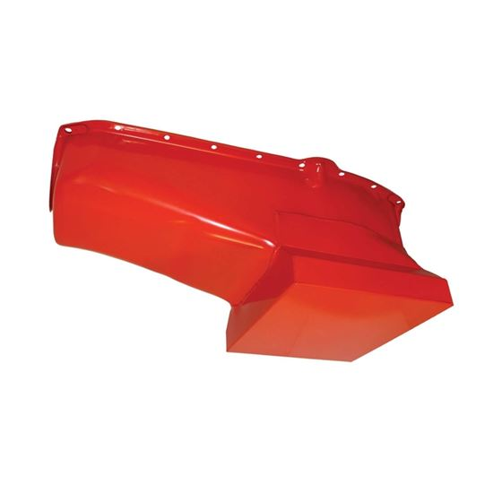 TSP SP7435 Small Block Chevy, 7 Quart Racing Oil Pan with Kickout, Orange, Steel