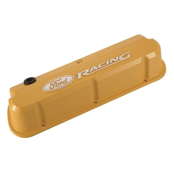 Ford Racing 302-144 Valve Covers Slant Edge Tall Die Cast Yellow w Raised Ford Logo SB Ford Raised L