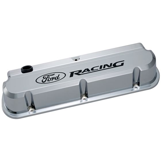 Ford Racing 302-139 Valve Covers Slant Edge Tall Die Cast Chrome w/Recessed Ford Logo SB Ford Recess