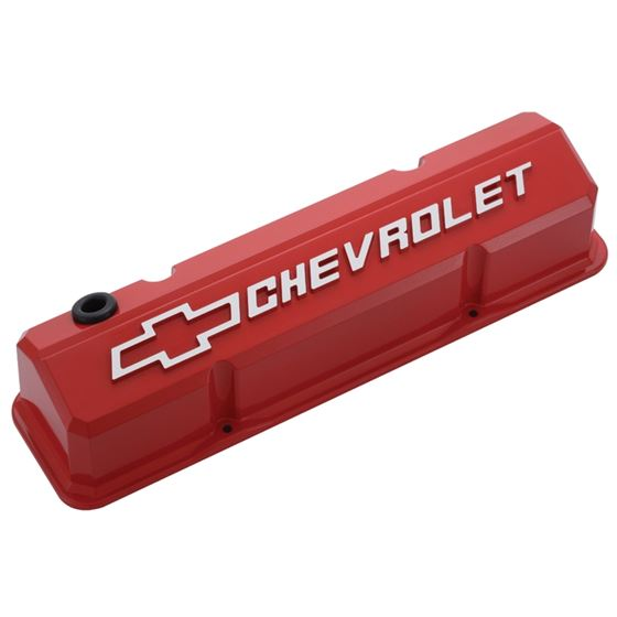 Chevrolet Performance Parts 141-931 Valve Covers Slant Edge Tall Die Cast Red W/Raised Bowtie Logo S