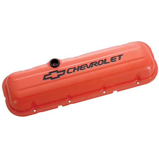 Chevrolet Performance Parts 141-789 Engine Valve Covers Stamped Steel Short Orange w/ Bowtie Logo Fi